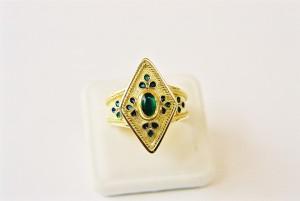 anello rombo con smalti e tormalina verde